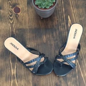 SODA - Black Cork Wedge Sandals -8